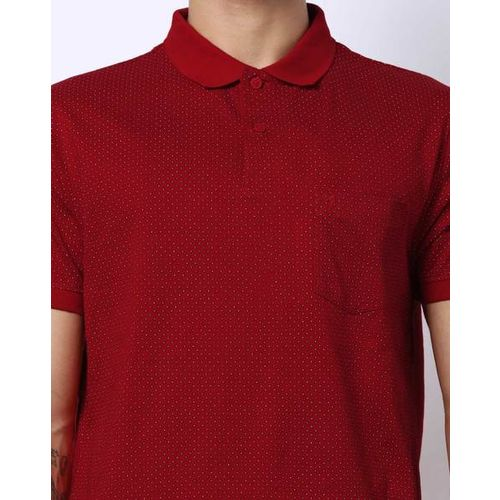 INDIAN TERRAIN Printed Polo T-shirt with Patch Pocket