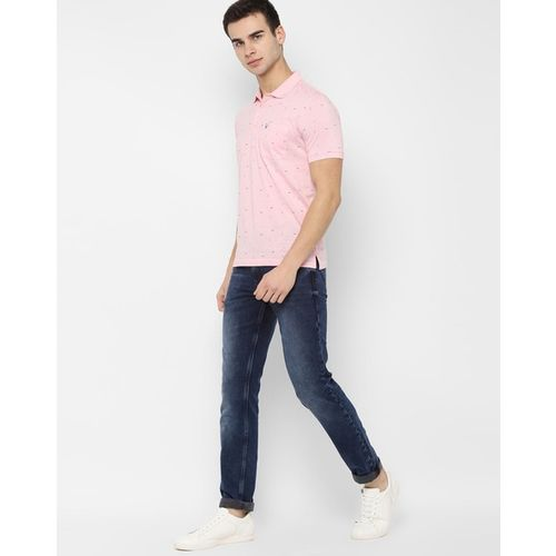 ALLEN SOLLY Micro Print Polo T-shirt with Patch Pocket