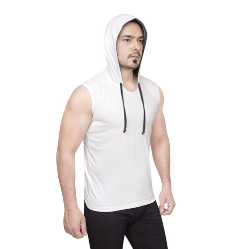 Dudlind Mens Casual Hooded Sleeveless T-Shirt Colour White Regular Fit | Casual Shirts for Mens Regular wear and Party wear