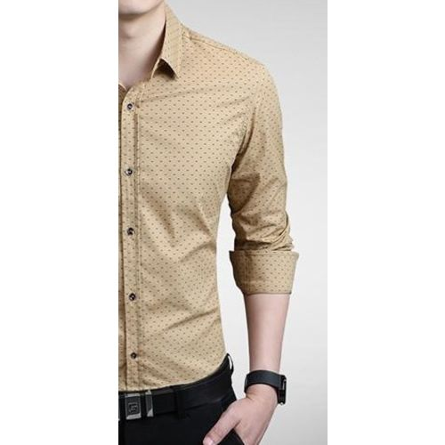 Men Moments Dotted Beige Cotton Casual Shirt For Men