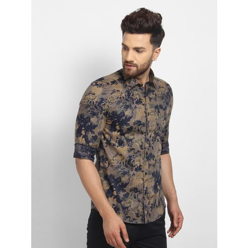 Cape Canary Men'S Beige Cotton Checkered Casual Shirt