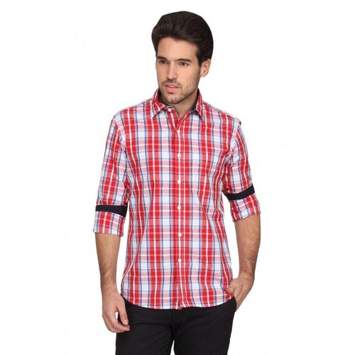 Denimlab Men's Checkered Casual Red, Blue Shirt