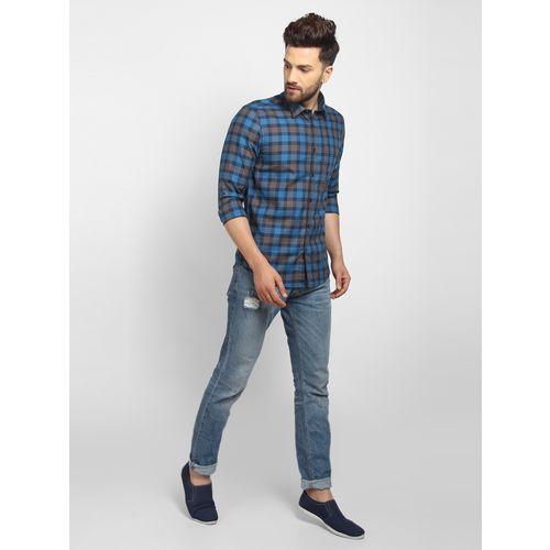 Cape Canary Men'S Blue Cotton Checkered Casual Shirt