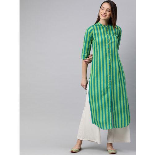 Vishudh Women Green Striped Straight Kurta