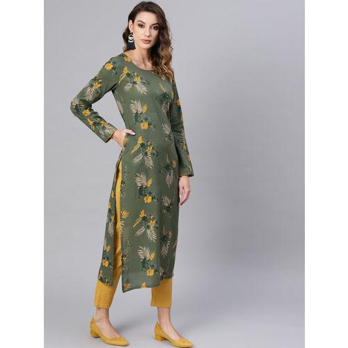 AKS Women Olive Green & Mustard Yellow Floral Printed Straight Kurta