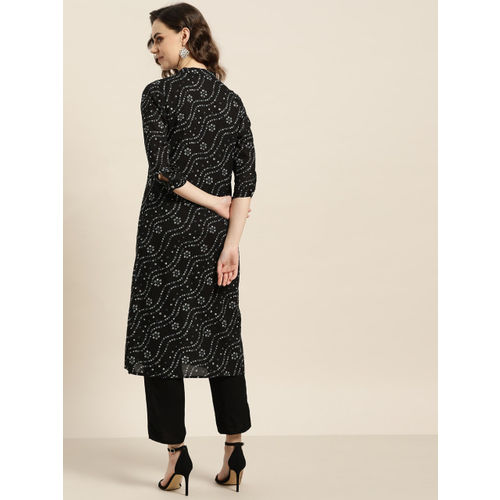 Sangria Women Black & Off-White Bandhani Print Straight Kurta