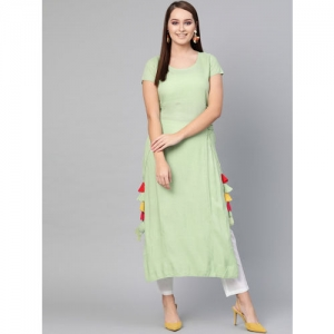 AKS Women Green Solid Straight Kurta