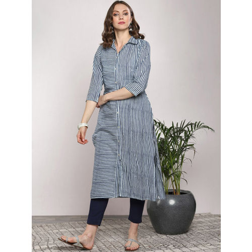 Sangria Women White & Navy Blue Striped A-Line Kurta