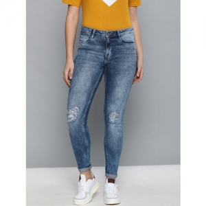 Harvard Women Blue Skinny Fit Mid-Rise Mildly Distressed Stretchable Jeans