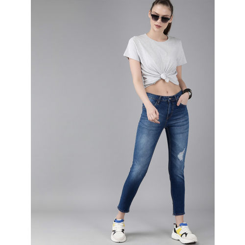 Roadster Women Blue Skinny Fit Mid-Rise Mildly Distressed Stretchable Cropped Jeans