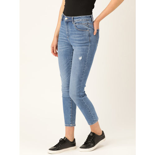promod Women Blue Skinny Fit Mid-Rise Low Distress Stretchable Cropped Jeans