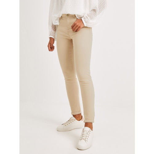 promod Women Beige Ernest Push Up Skinny Fit Mid-Rise Clean Look Stretchable Jeans