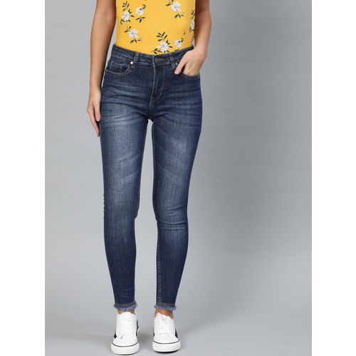 Mast & Harbour Women Blue Skinny Fit Mid-Rise Clean Look Stretchable Cropped Jeans