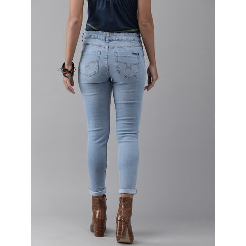Roadster Women Blue Skinny Fit Mid-Rise Mildly Distressed Stretchable Jeans