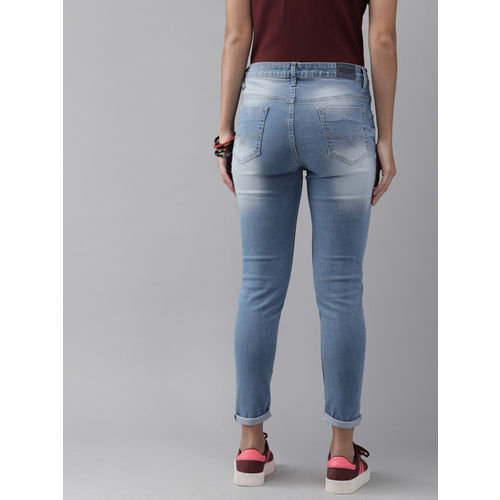 Roadster Women Blue Skinny Fit Mid-Rise Low Distress Stretchable Cropped Jeans