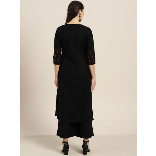 Sangria Women Black Yoke Design Straight Kurta