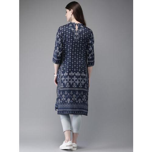 Anouk Women Navy Blue & White Printed Straight Kurta