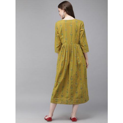 Anouk Women Mustard Yellow & Green Printed A-Line Kurta