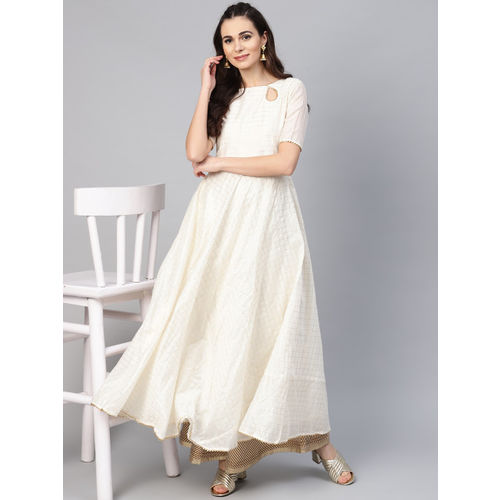Inddus Women Off-White & Golden Checked Anarkali Kurta