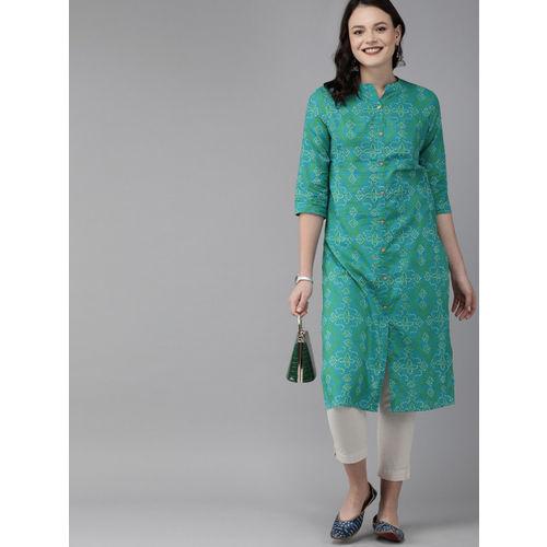 Anouk Women Sea Green & White Printed Straight Kurta
