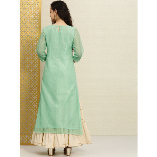 House of Pataudi Women Green Embroidered A-Line Kurta