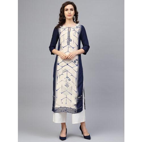 W Women Off-White & Navy Blue Printed Straight Kurta