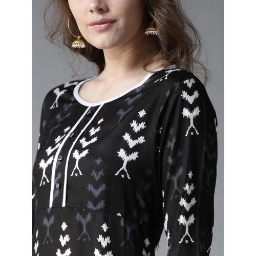 Moda Rapido Women Black & Off-White Printed Straight Kurta