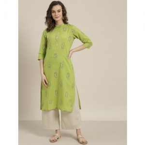 Sangria Women Green & Black Printed Straight Kurta