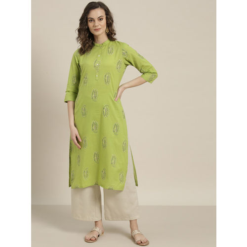 Sangria Women Green & Black Printed Straight Kurta