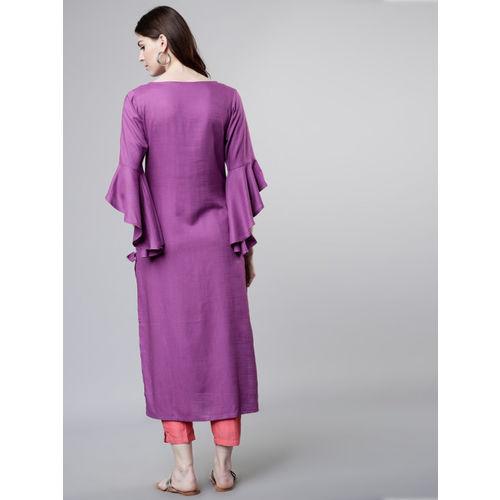 Vishudh Women Purple Yoke Design Straight Kurta