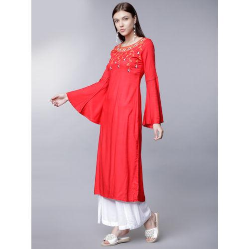 Vishudh Women Red Solid Straight Kurta