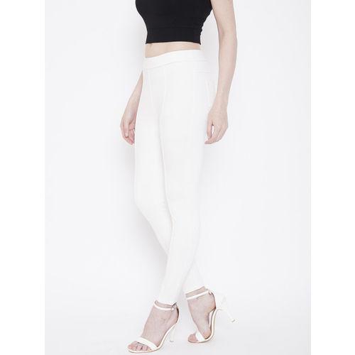 Deewa Women White Slim Fit Solid Treggings