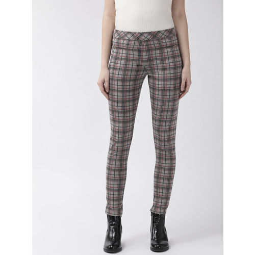 WISSTLER Women Grey & Maroon Skinny Fit Checked Treggings