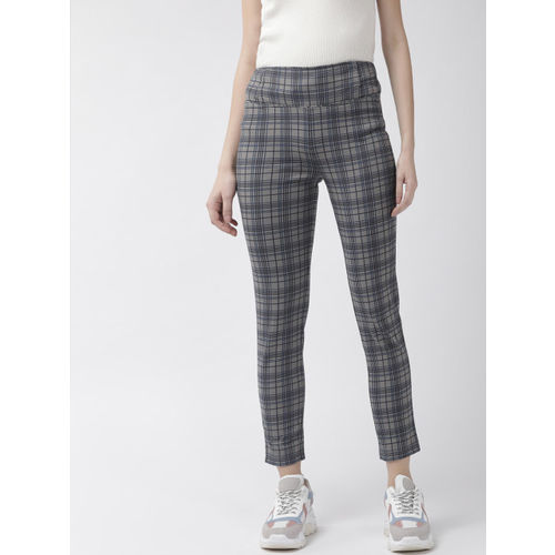 WISSTLER Women Grey & Blue Skinny Fit Checked Treggings