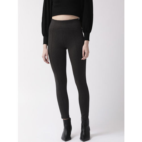 Marks & Spencer Women Charcoal Grey Solid High Rise Cropped Treggings