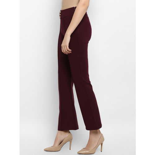 Mode by Red Tape Women Burgundy Solid Bell-Bottom Treggings