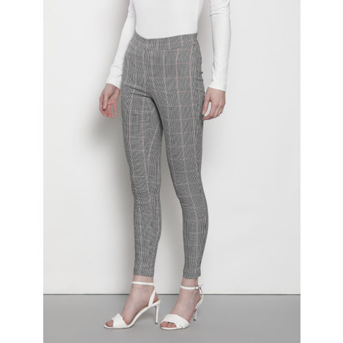 DOROTHY PERKINS Women White & Black Skinny Fit Checked Mid Rise Cropped Treggings