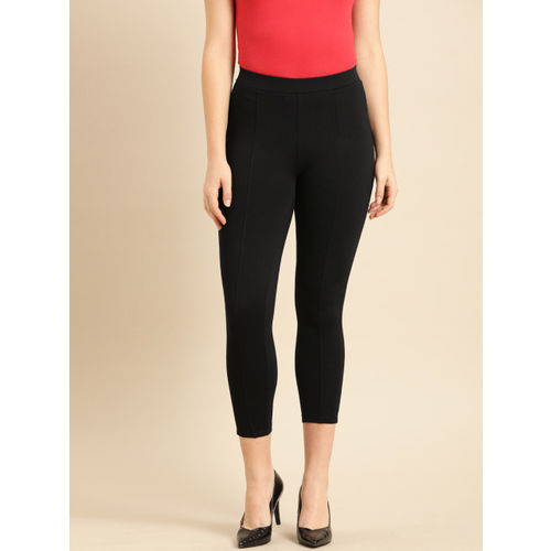 Ms.Taken Women Black Solid Slim Fit Cropped Treggings