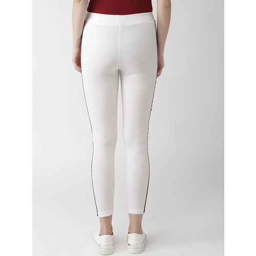 plusS Women White Solid Treggings