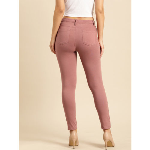 Ms.Taken Women Pink Solid Slim Fit Treggings