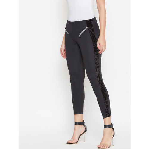 Austin Wood Women Black Solid Slim-Fit Treggings