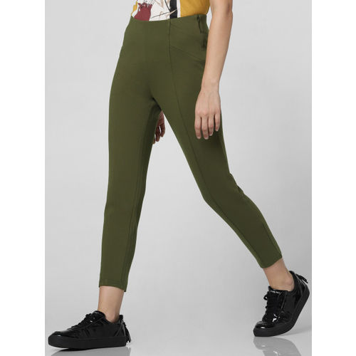Vero Moda Women Olive Green Solid Cropped Treggings