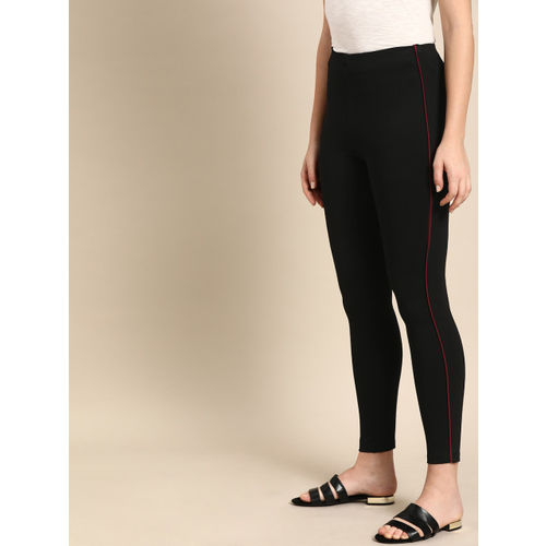 ether Women Black Solid Treggings
