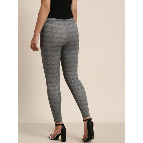 Kraus Jeans Women Grey & Black Checked Formal Treggings