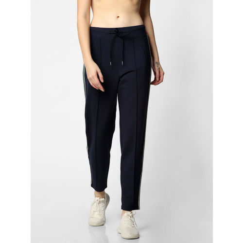ONLY Women Navy Blue Solid Straight Fit Treggings With Side Strip Detail