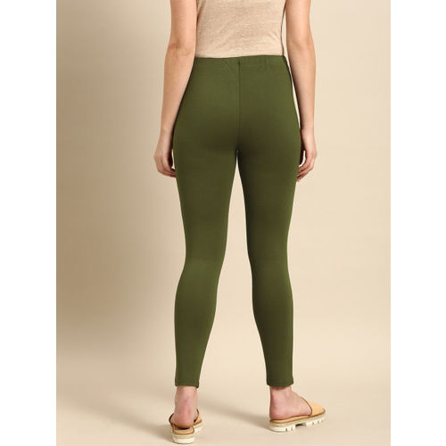 ether Women Olive Green Solid Skinny Fit Treggings
