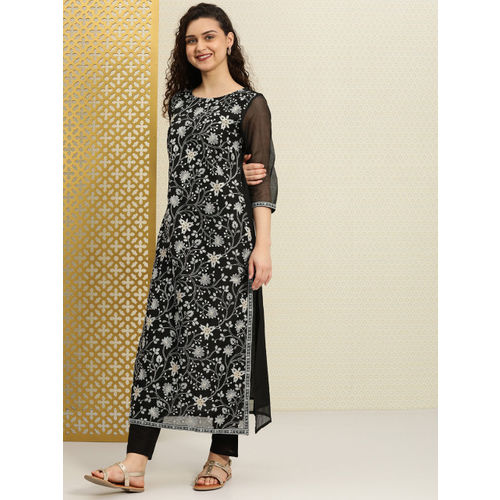 House of Pataudi Women Black & Grey Embroidered A-Line Kurta