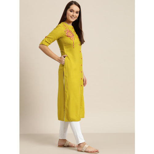 Sangria Women Lime Green Solid Straight Kurta