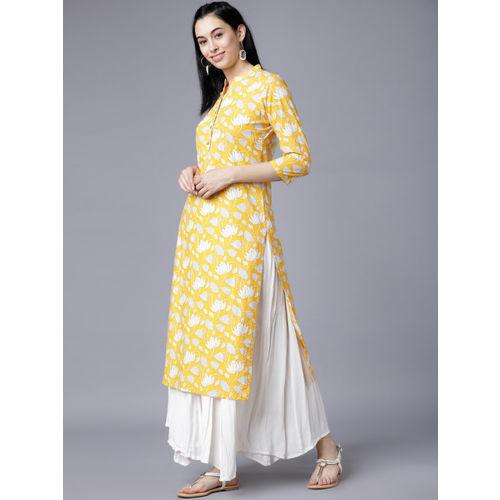 Vishudh Women Yellow & White Printed Straight Kurta