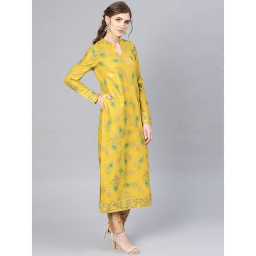 AKS Women Mustard Yellow & Green Printed Straight Kurta